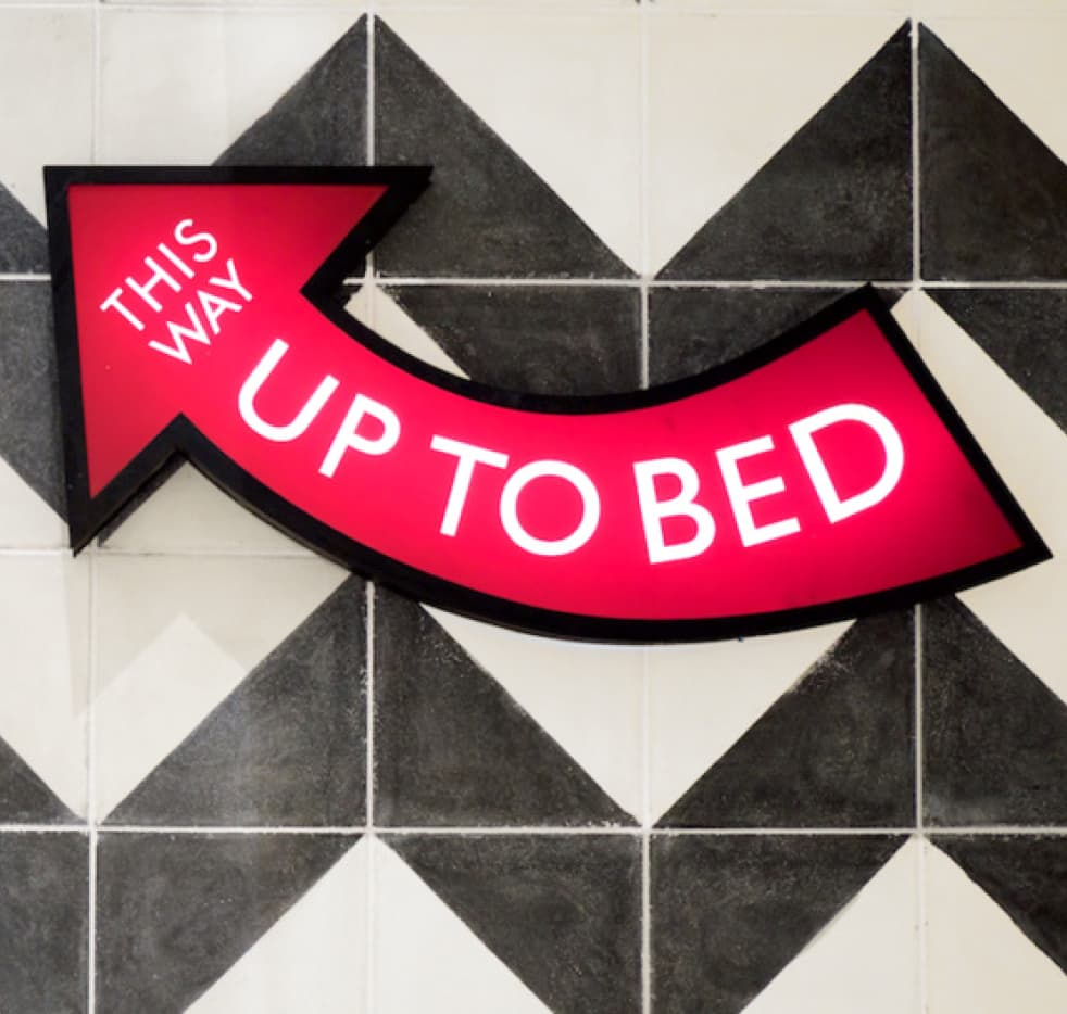 Up to bed signage